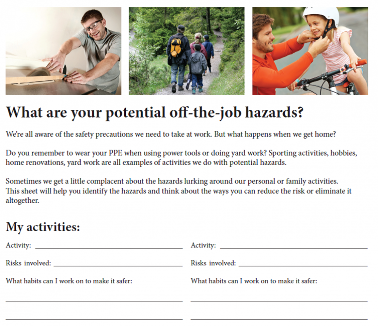 SafeStart's off-the-job contest form was created by its safety committee