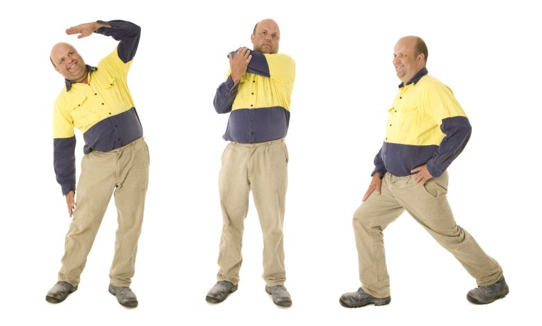 A worker demonstrates three different stretches
