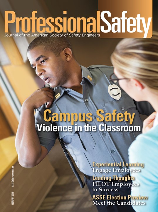 The cover of the February 2016 issue of Professional Safety, which features an article on establishing safety habits by SafeStart's safety consultant Tim Page-Bottorff