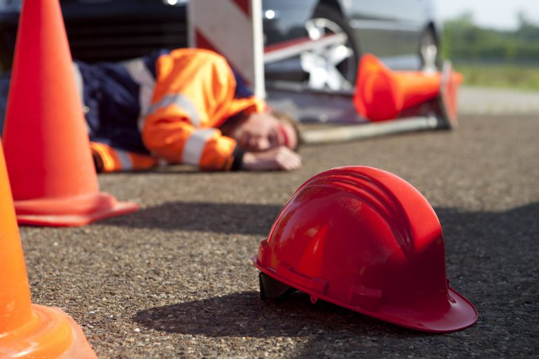 Flagman struck at construction site