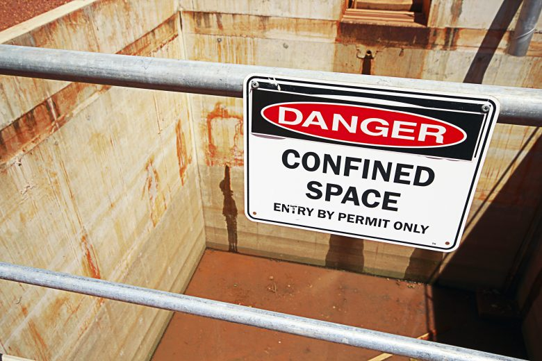 Danger Confined Space Enter by Permit Only