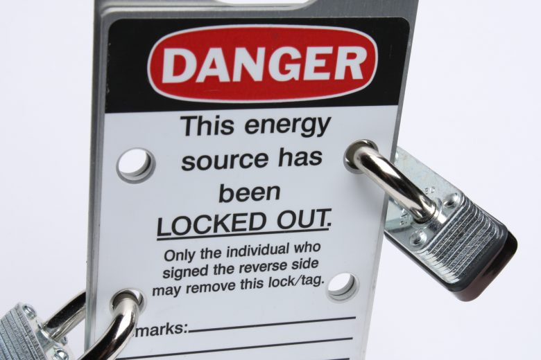 Sign that reads Danger: This energy source has been locked out