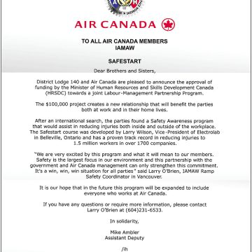 Air Canada letter