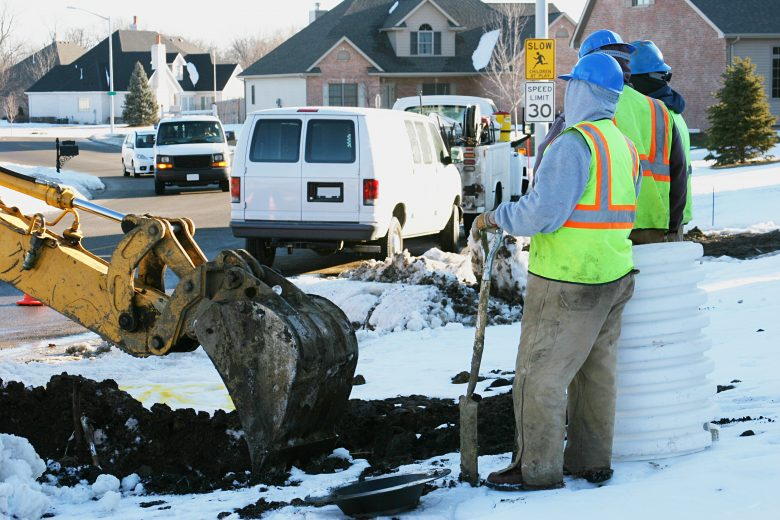 Winter construction working on a watermain