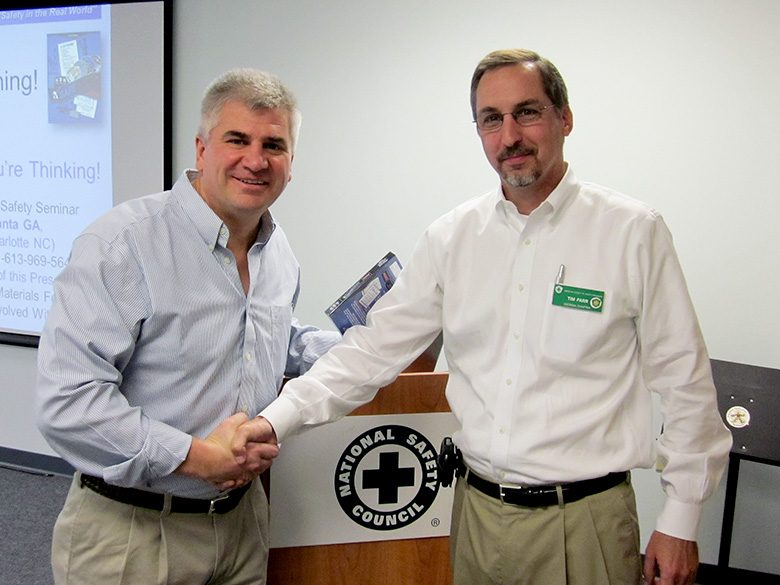 Tim Farr (right) with Don Wilson after his presentation to local chapter members.