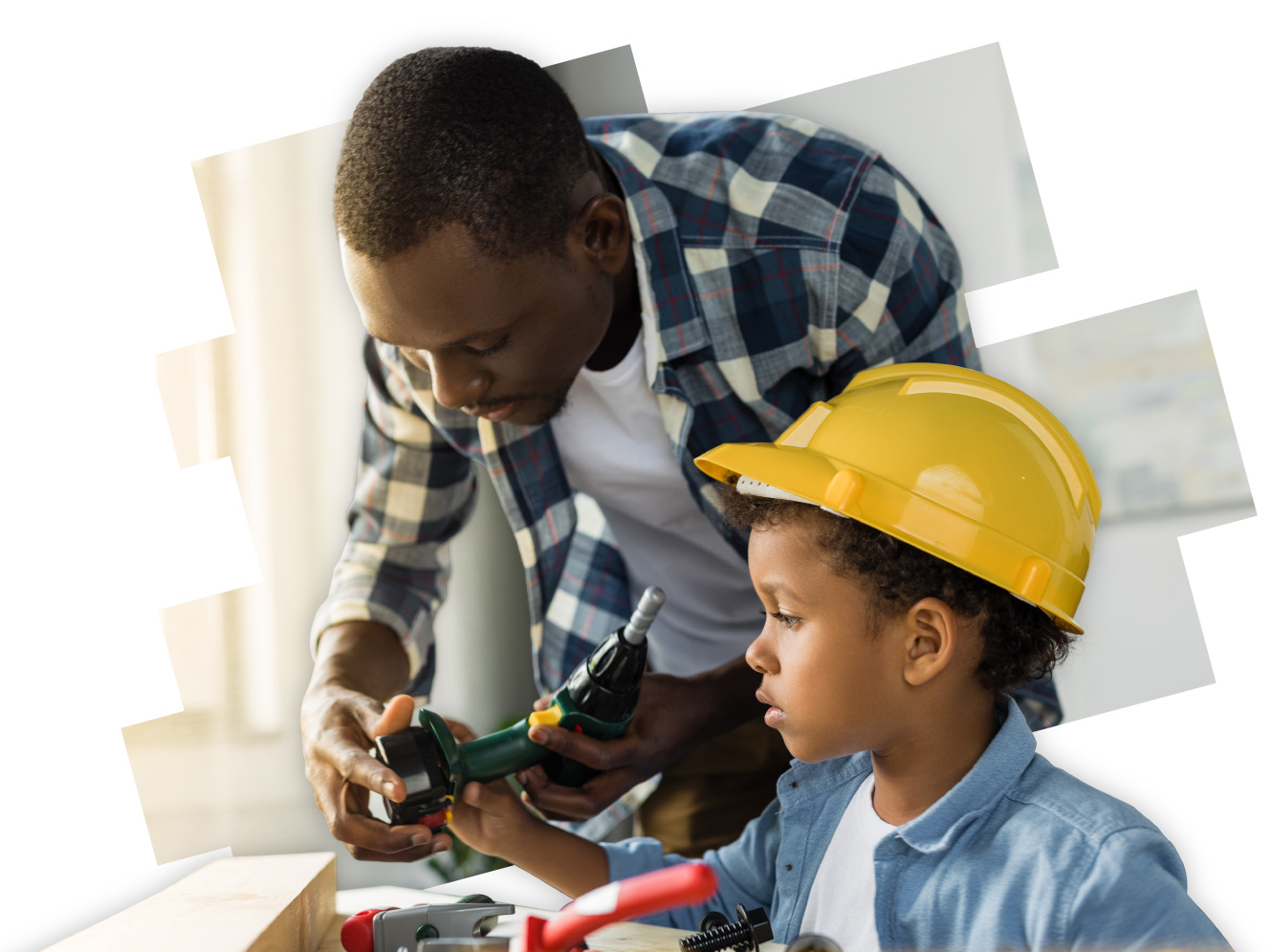 Man helping child with tools