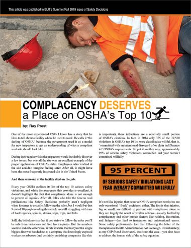 Complacency Deserves a Place in OSHA's Top 10
