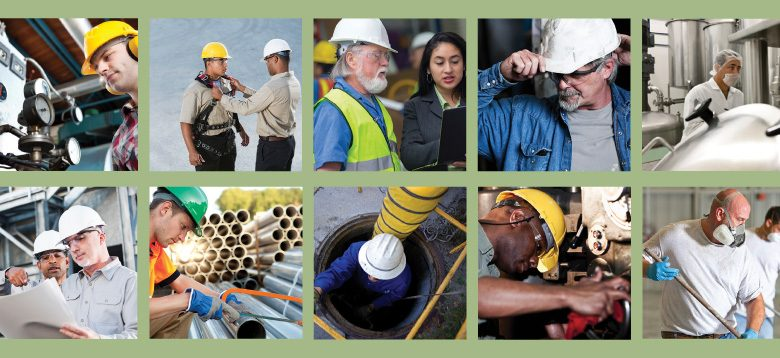 A collage of workers