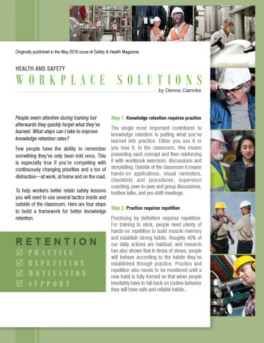 Improving Safety Knowledge Retention Rates