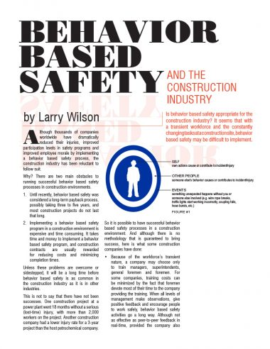 behavior-based Safety and the Construction Industry Cover