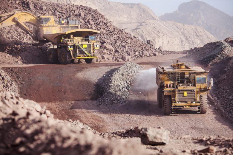 Mining trucks on construction site