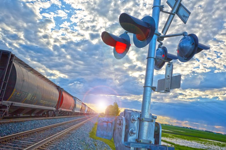 Railway tracks and tanker cars