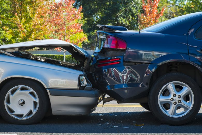Auto accident involving one car running into the back of another car