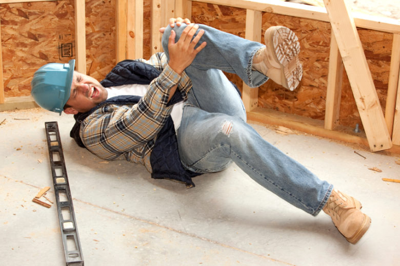 Construction worker falls and injures his leg