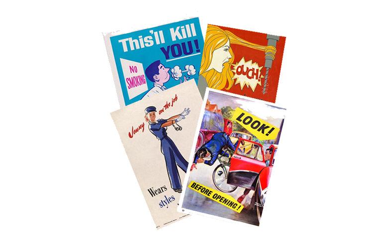 Vintage safety posters arrangement