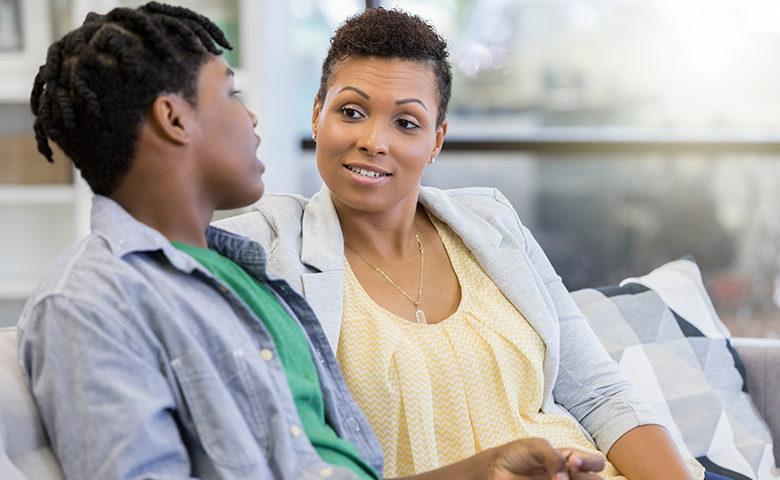 Teen talks with mom