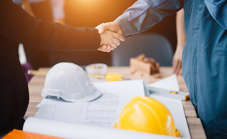 Handshake on a work site
