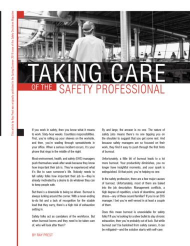 Taking Care of the Safety Professional