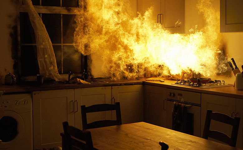 Fire raging in domestic kitchen