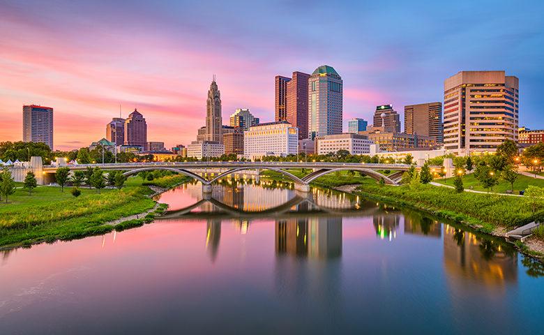 Columbus, Ohio, USA skyline on the river