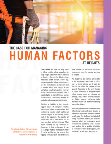 The Case for Managing Human Factors at Heights