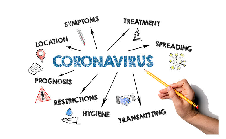 Coronavirus. Symptoms, spreading, transmitting and restrictions concept. Chart with keywords and icons