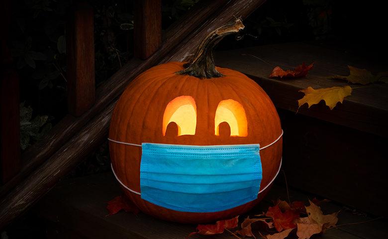 Lighted Halloween Jack o Lantern Pumpkin Wearing COVID PPE Mask