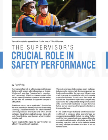 The Supervisors Crucial Role in Safety Performance
