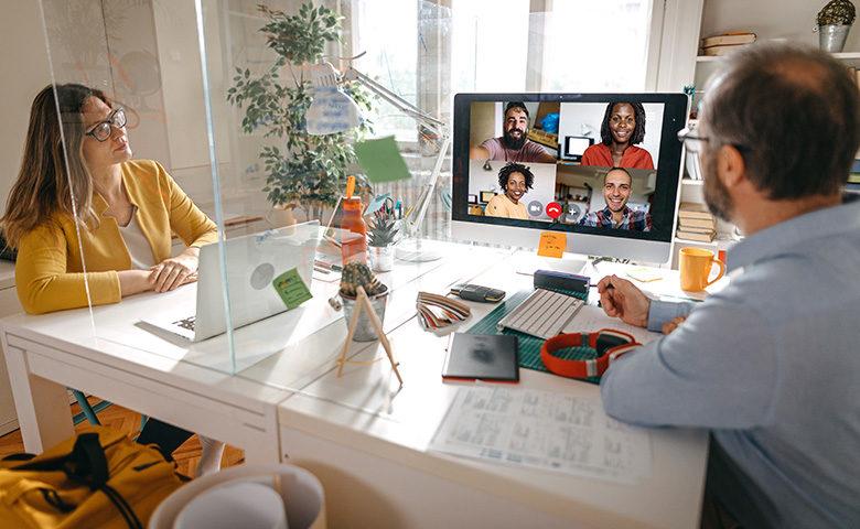 Video meeting with team members