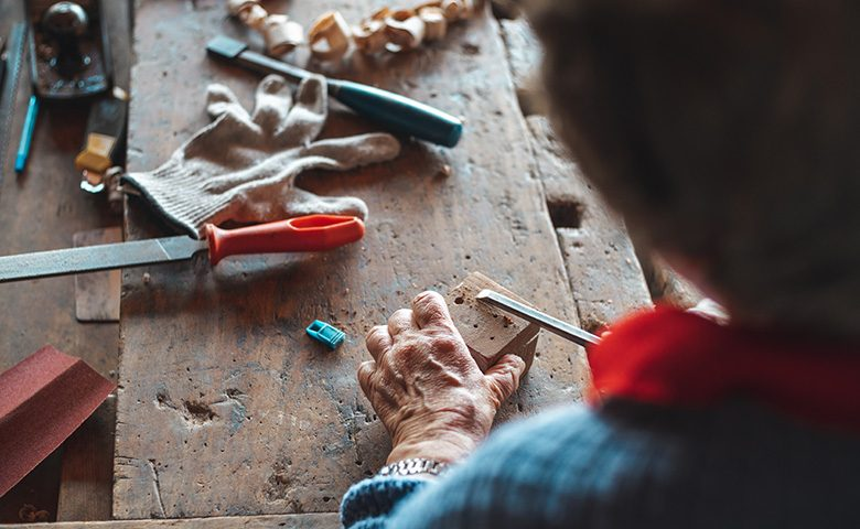 Carpenter working with hands